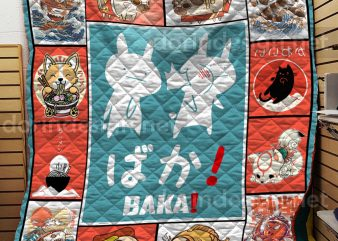 Bunny Cats Dogs Japan Baka Anime Manga Quilts T shirt Design