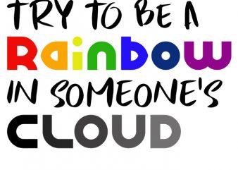 Rainbow in cloud shirt template design