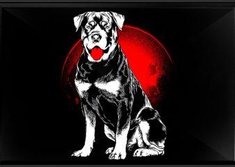 rottweiler moon t shirt design online