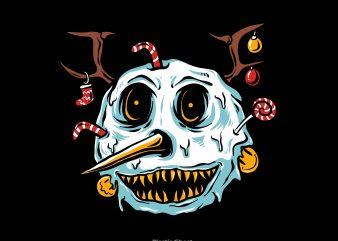 snowman terror t shirt template vector