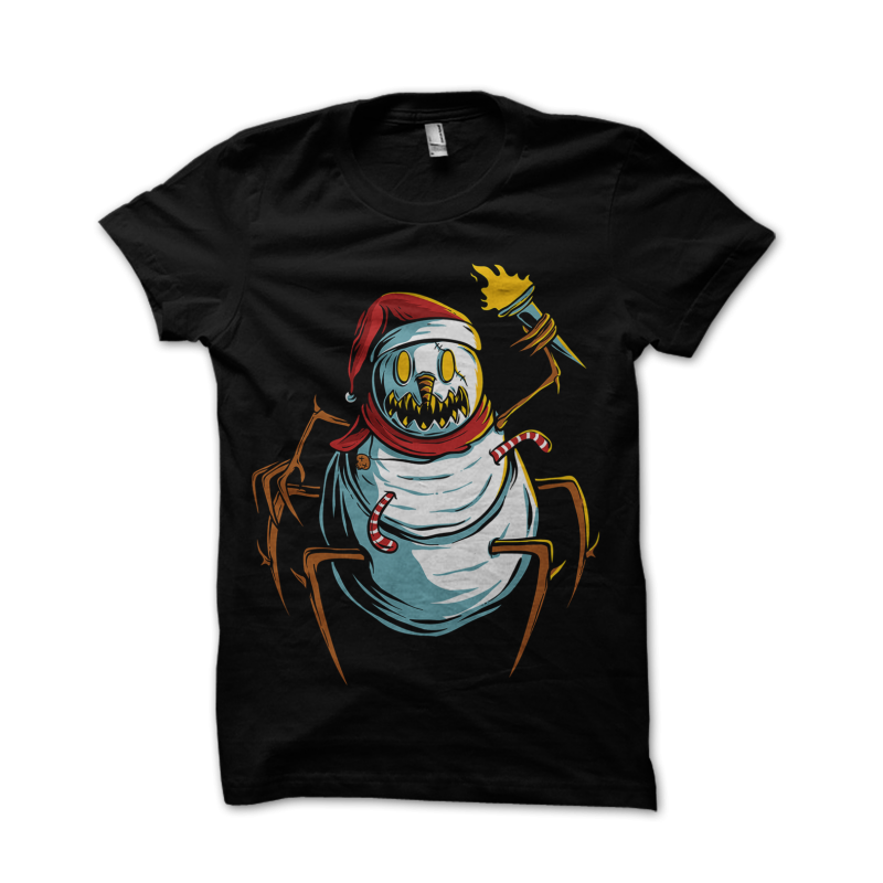 scary snowman is chasing you t shirt designs for teespring