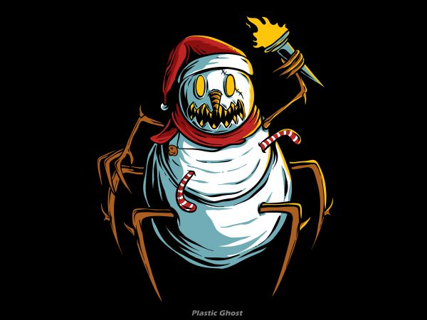scary snowman is chasing you t shirt template vector