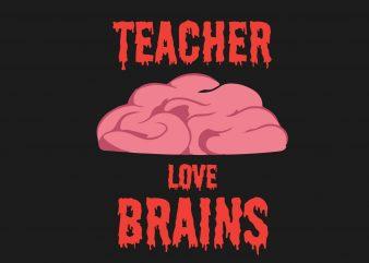 Teacher Love Brain buy t shirt design for commercial use