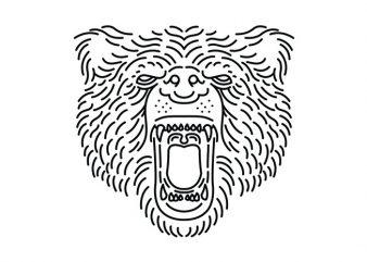 Bear Roar Line vector t-shirt design template