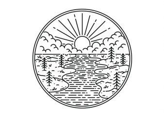 Great Nature vector t-shirt design template