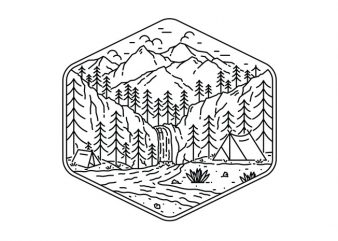 Great Camping t shirt design template