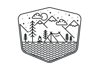 Camping Line t shirt vector file
