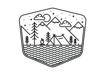 Camping Line vector t shirt design artwork