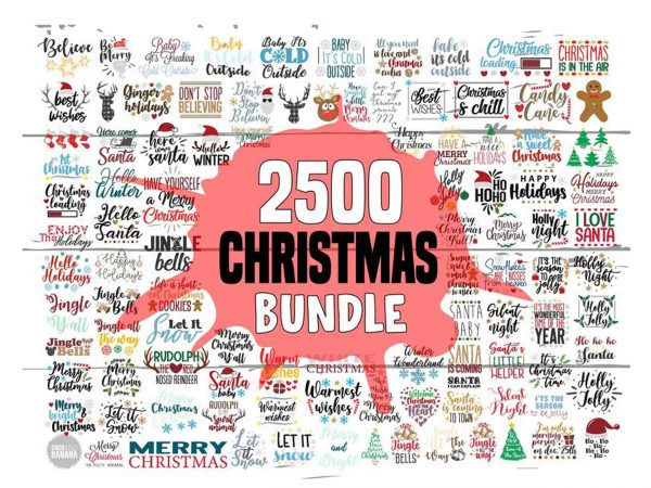 2500 Christmas Bundle, Christmas Sayings SVG Bundle, Winter Holidays Bundle Christmas SVG Pack, Holiday SVG, Holiday Clipart Svg Cut File for Cricut and Silhouette, 90% off – psd, png and font – limited time only