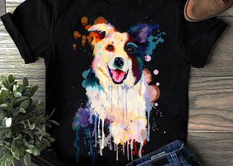 Border Collie – Hand Drawing Dog By Photoshop – 10 commercial use t-shirt design
