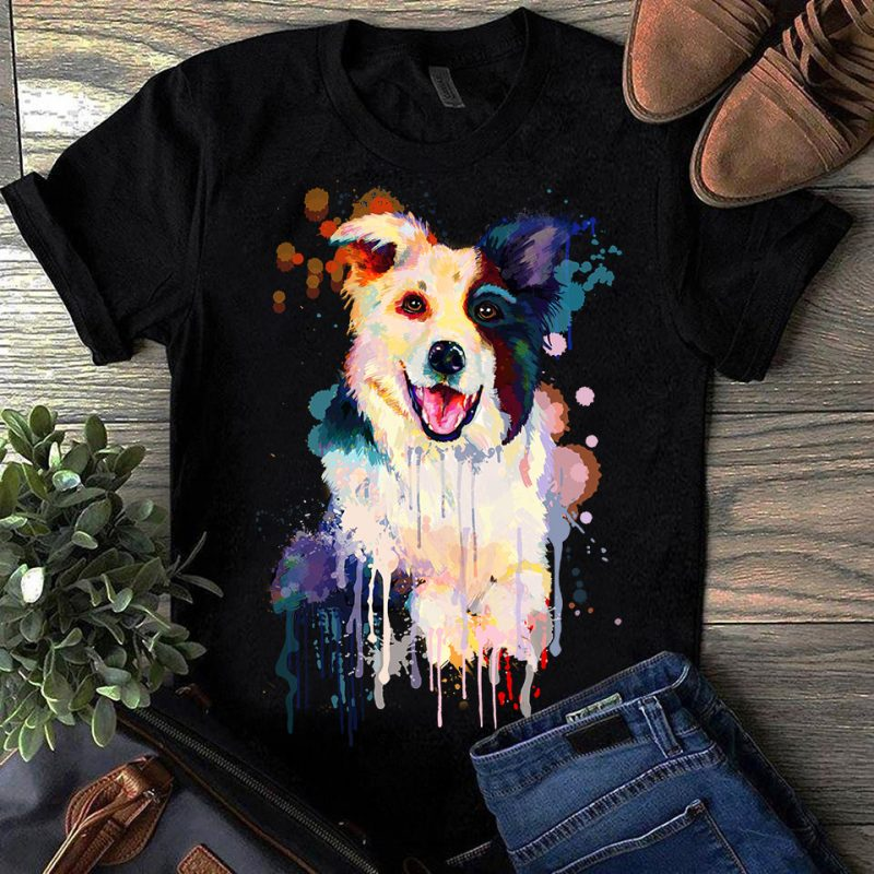 Border Collie – Hand Drawing Dog By Photoshop – 10 t-shirt designs for merch by amazon