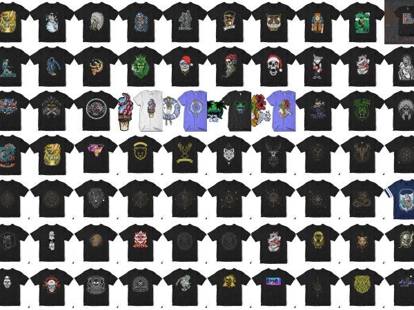 110 tshirt designs. Christmass, Halloween, Skull, Astronaut, etc