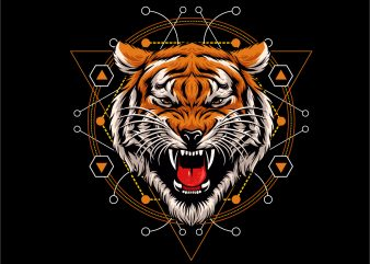 tiger head geometric t shirt designs for sale