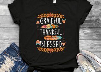 Grateful thankful blessed t-shirt design png