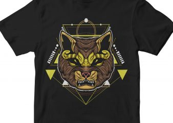 CAT HEAD GEOMETRIC commercial use t-shirt design