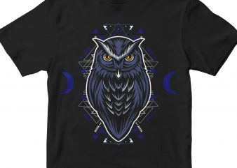 OWL HEAD GEOMETRIC print ready shirt design