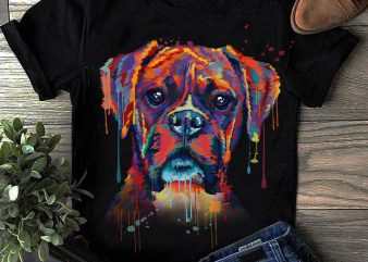 Boxer – Hand Drawing Dog By Photoshop – 14 t shirt template