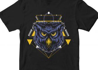 OWL HEAD GEOMETRIC t shirt design png