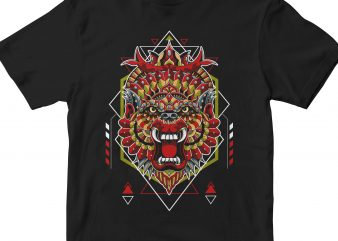 KING APE HEAD GEOMETRIC t shirt vector art
