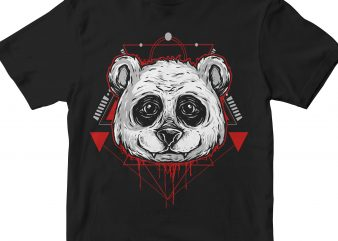PANDA HEAD GEOMETRIC vector t-shirt design template