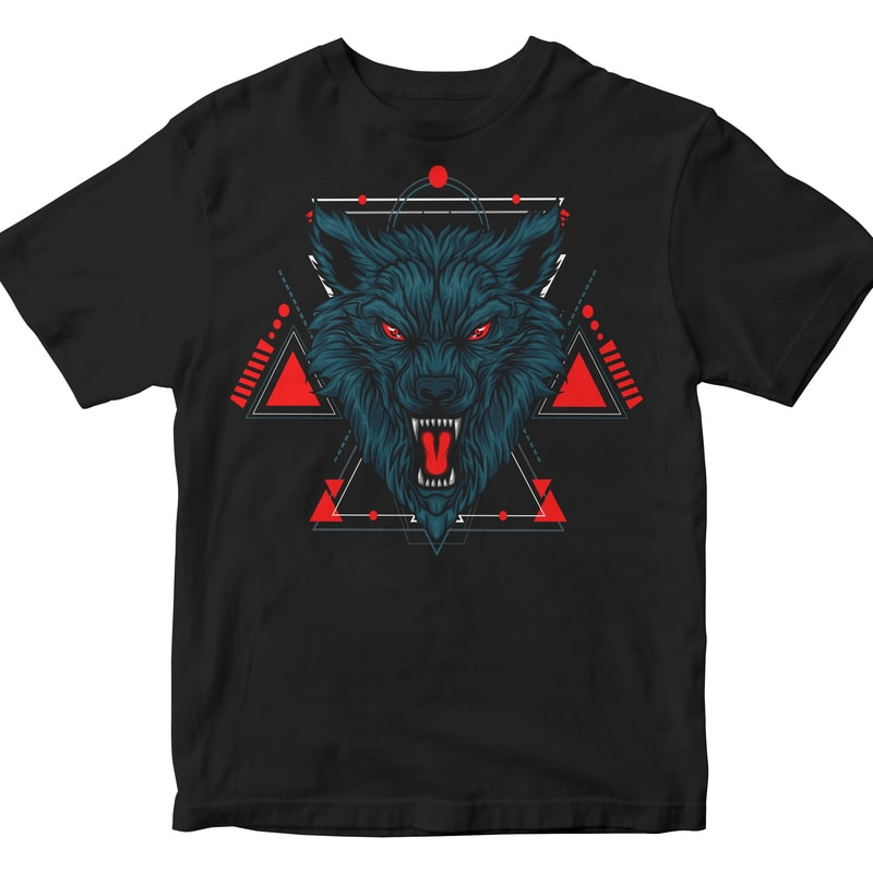 WOLF HEAD GEOMETRIC t shirt designs for teespring