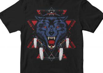 NIGHT INDIAN WOLF HEAD GEOMETRIC tshirt design vector