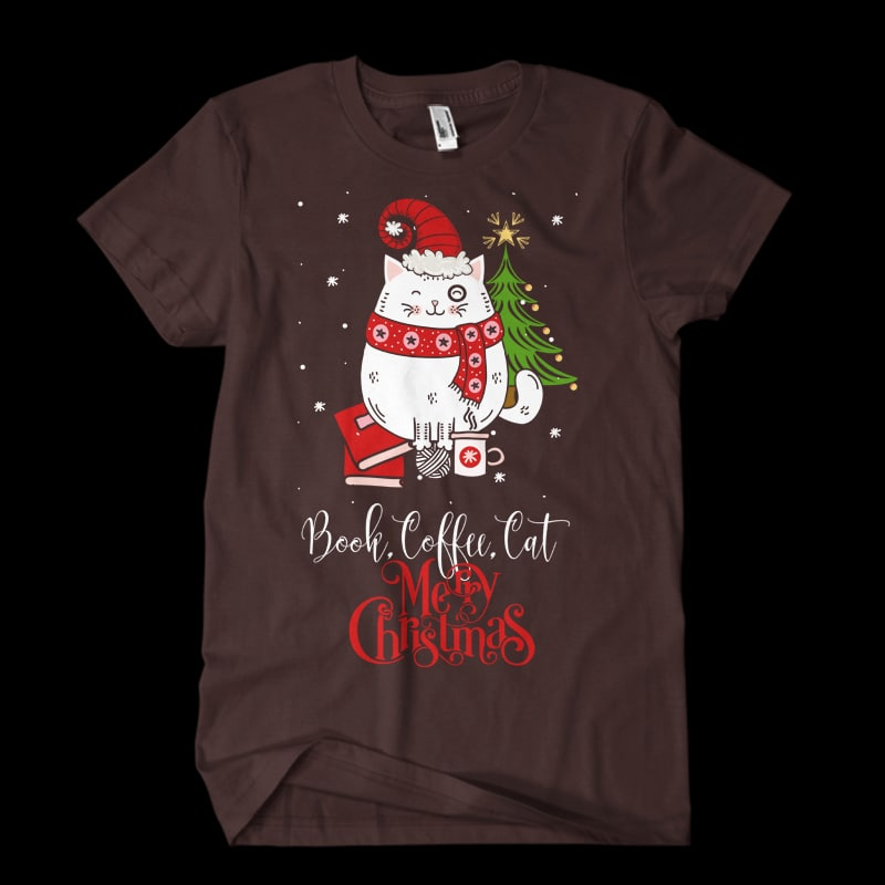 book,coffee,cat,Christmas t shirt designs for printify
