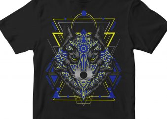 WOLF HEAD GEOMETRIC t shirt design for sale