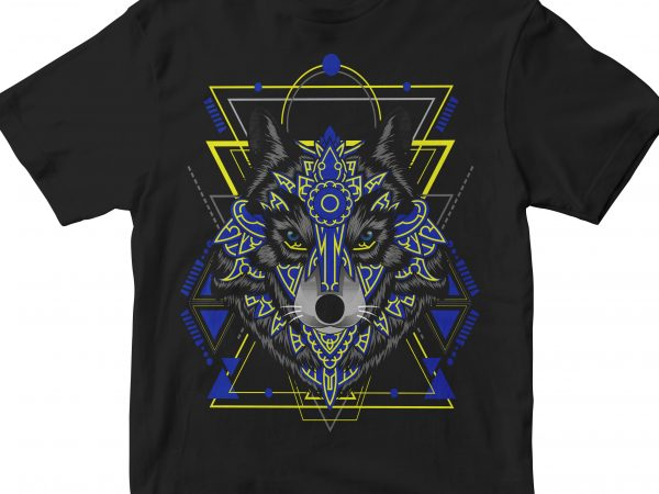 WOLF HEAD GEOMETRIC design for t shirt