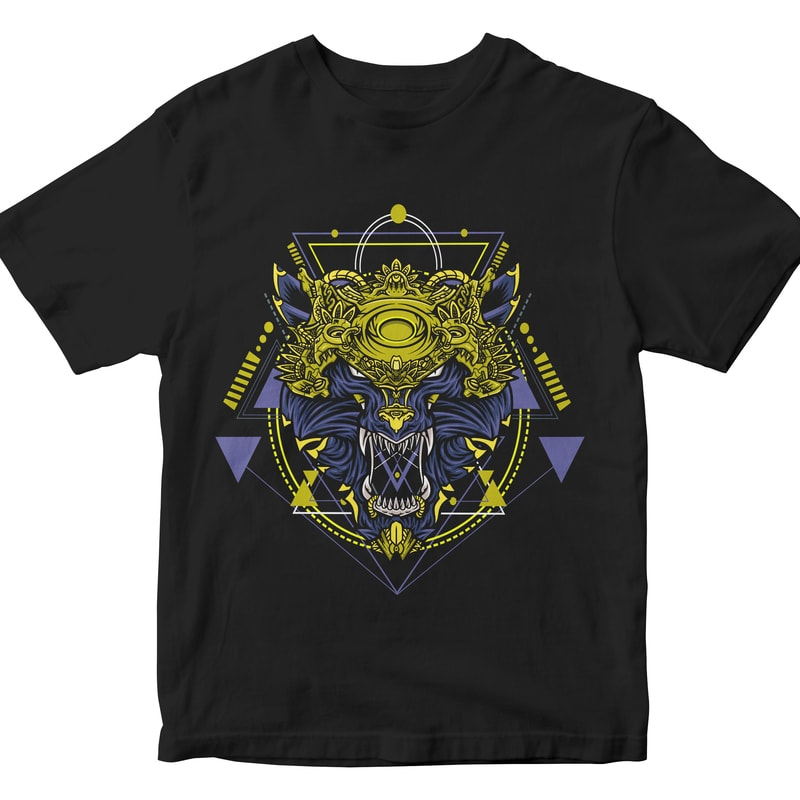 WOLF HEAD GEOMETRIC t shirt designs for teespring