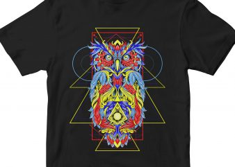 OWL HEAD GEOMETRIC t shirt design online