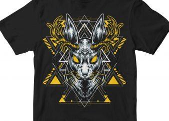 DEER HEAD GEOMETRIC t shirt vector illustration