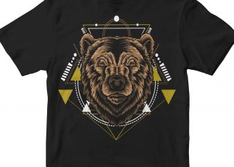 BEAR HEAD GEOMETRIC vector t-shirt design template