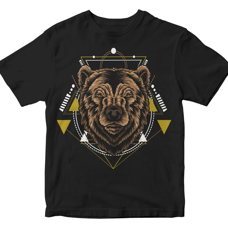 BEAR HEAD GEOMETRIC commercial use t shirt designs