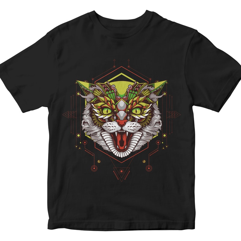 CAT GEOMETRIC commercial use t shirt designs