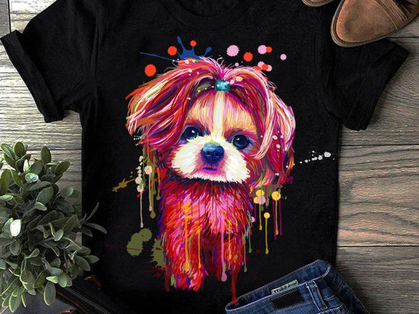 Shih Tzu – Hand Drawing Dog By Photoshop – 7 graphic t-shirt design