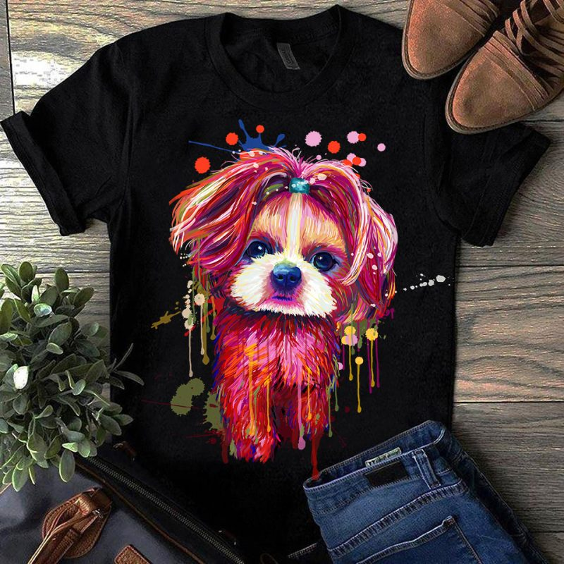 Shih Tzu – Hand Drawing Dog By Photoshop – 7 t-shirt designs for merch by amazon