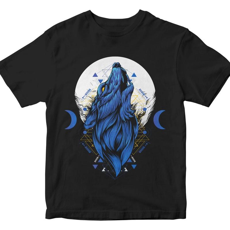 night wolf head geometric t shirt designs for merch teespring and printful