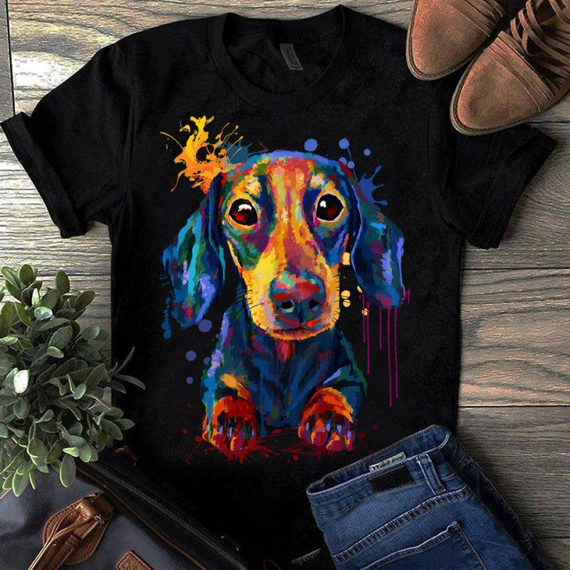 Dachshund – Hand Drawing Dog By Photoshop – 8 t-shirt designs for merch by amazon