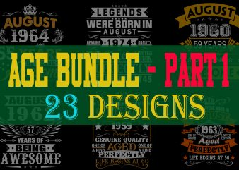 Special Birthday Age Bundle Psd File – PART 1 – 80% OFF – Editable 23 files, font and mockup print ready t shirt design