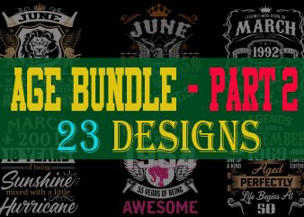 Special birthday age bundle psd file – PART 2 – 80% OFF – editable 23 files, font and mockup t shirt design to buy