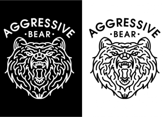 Aggressive Bear buy t shirt design for commercial use