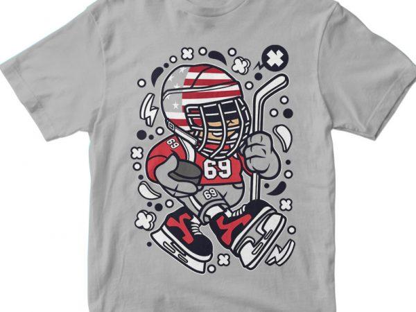 American Hockey Kid vector t shirt design artwork