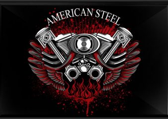 American Steel commercial use t-shirt design