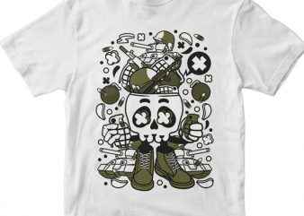 Army Skull Head t shirt vector