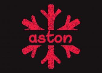 Aston Christmas Snow t shirt vector