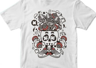 Barbell Skull Head t shirt template