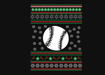 Baseball Christmas tshirt design vector