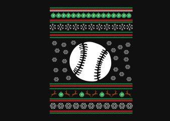 Baseball Christmas t shirt template