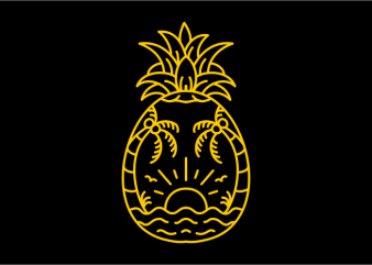 Beach Pineapple print ready vector t shirt design